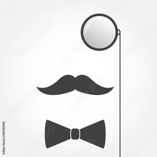 Fototapeta Monocle or eyeglasses, mustache and bow tie