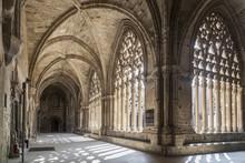Old Cathedral, Interior Cloister,Catedral De Santa Maria De La Seu Vella, Gothic Style, Iconic Monument In The City Of Lleida, Catalonia,Spain.