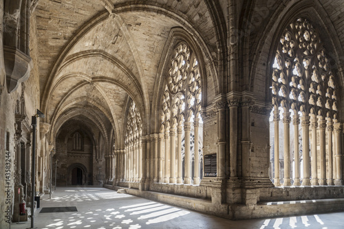 Old Cathedral, interior cloister,Catedral de Santa Maria de la Seu Vella, gothic style, iconic monument in the city of Lleida, Catalonia,Spain.