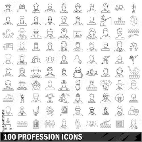 100 profession icons set, outline style Poster