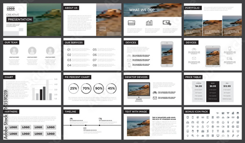 Fotomural Minimal black and white presentation template