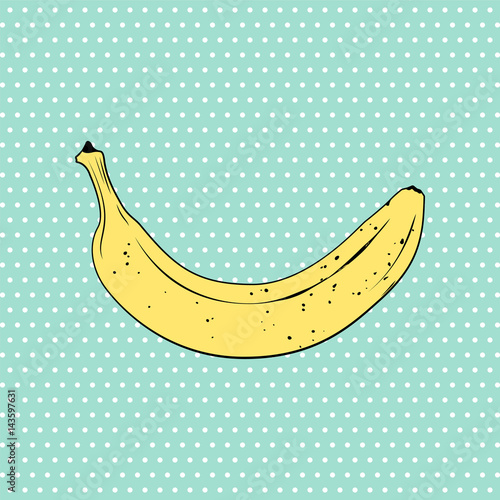 Fototapeta Banana pop art style illustration. Vector