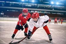 Children Play Ice Hockey.