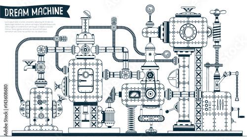Plakaty złożona aparatura z wieloma elementami, rurami, przewodami, zaworami