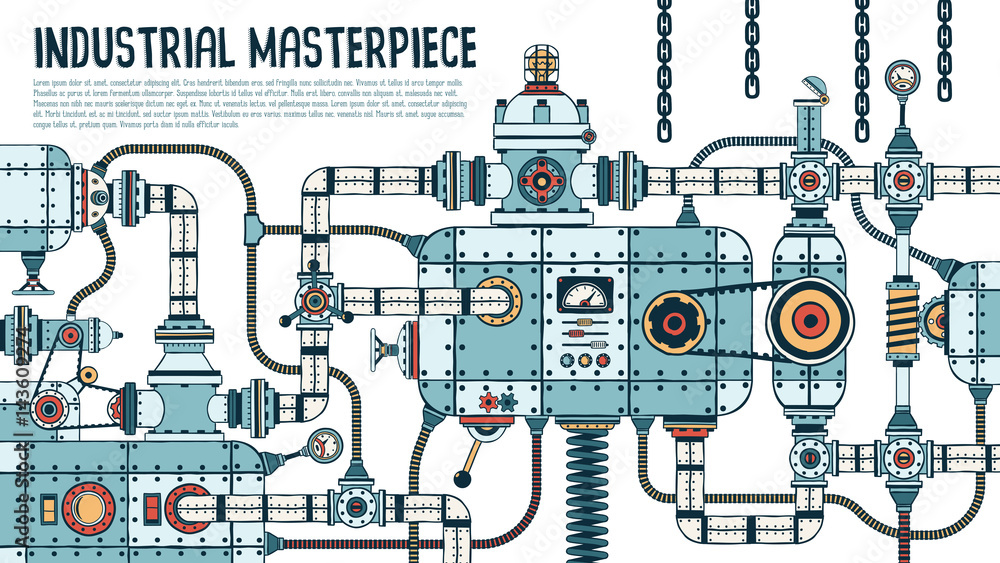 Fototapety, obrazy: Incredible complex industrial machine with pipes, valves, hoses, mechanisms, apparatus. Spare parts are grouped separately - you can disassemble and assemble differently.