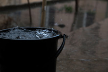 Rain Drop In Bucket Water, Weather Rainy Season