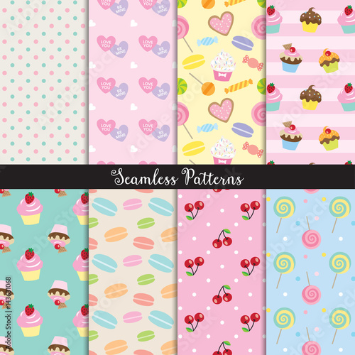 Foto op Canvas Kunstmatig Vector illustration of cute dessert seamless pattern set.
