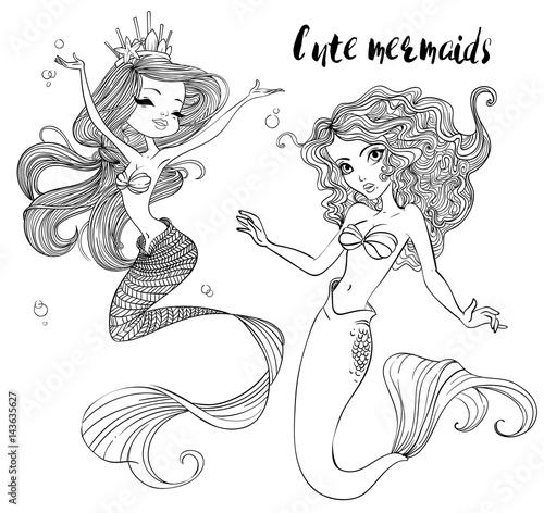 cute cartoon mermaids Poster
