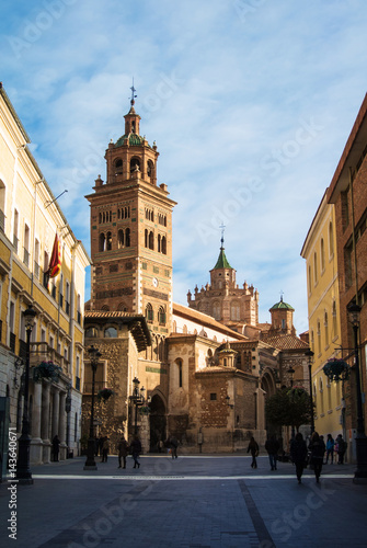 TERUEL, SPAIN - FEBRUARY 01, 2016: Teruel Cathedral, a Roman Catholic church and a street early in the morning, Teruel, Aragon, Spain.