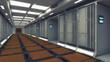 3d rendering. Futuristic background architecture corridor.