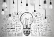 Many light bulbs and business idea