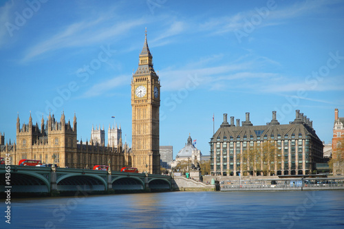 Foto op Canvas Londen London, UK. Big Ben and the Westminster Bridge with Red buses.