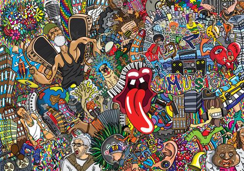 Poster Graffiti Music collage on a large brick wall, graffiti