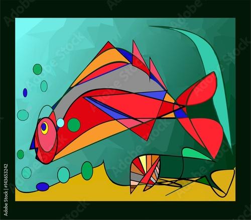 Sfondo Astratto Colorato Pesce Rosso Buy This Stock Illustration