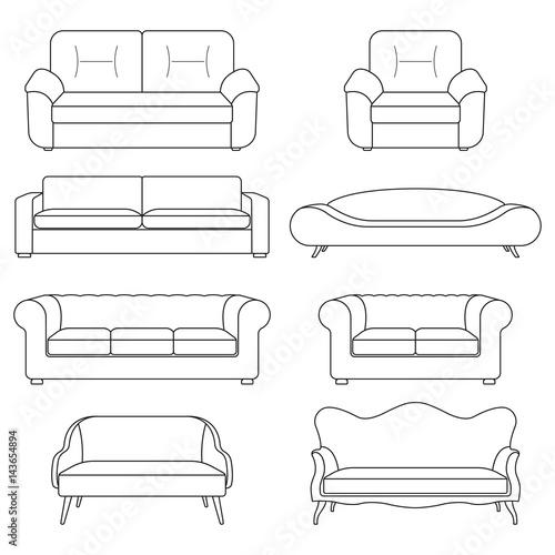 Sofa icon line set. Modern, vintage and retro sofa ...