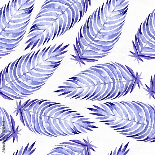 wzor-z-recznie-malowanych-niebieskich-lisci-palmy-na-bialym-tle