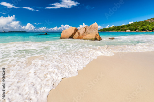 Poster Strand Beautiful beach at Seychelles