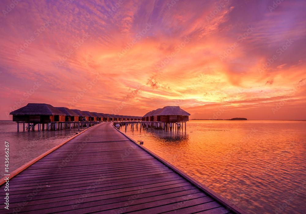 Fototapeta Sunset at Maldivian beach