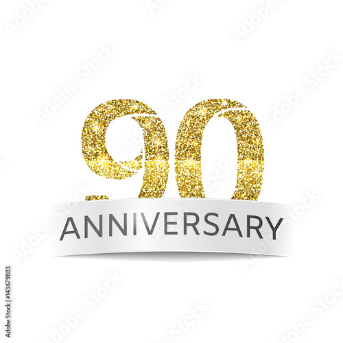 Ninety years anniversary The banner of the 90th birthday golden