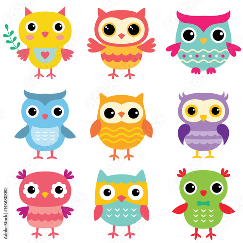 Poster Uilen cartoon Isolated cute cartoon owls set