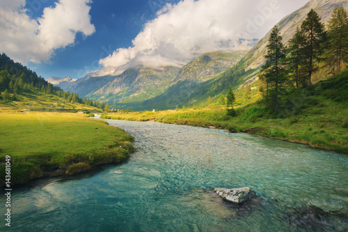 Chiese river and in the National Park of Adamello Brenta from the Val di Fumo Canvas Print