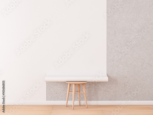 Fotografie, Obraz  Empty room with White Blank Roll of wallpaper Mockup lies on a chair, 3d renderi