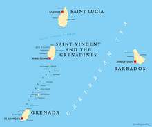 Barbados, Grenada, Saint Lucia, Saint Vincent And The Grenadines Political Map. Island Countries In The Caribbean, Part Of Lesser Antilles And Windward Islands. Illustration. English Labeling. Vector.