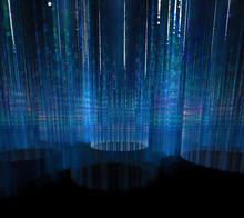 Black And Blue Background. Turquoise Circles With Blurred Rays. Water Wall With White Sparkles. Surface With Falling Star Dust In Dark 3d Space.