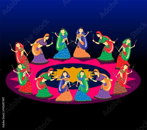 Photo Female playing dandiya on Navratri (Garba dance)