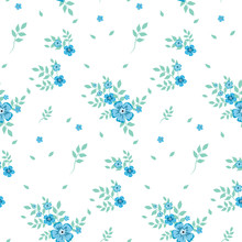 Seamless Pattern In A Small Blue Flower On A White Background.Colored Seamless Background For Textile, Fabric, Cotton Fabric, Cover, Wallpaper, Stamp, Gift Wrapping And Scrapbooking.