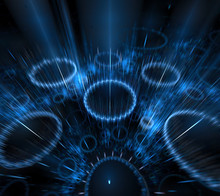 Black And Blue Background. Circles With Blurred Rays. Motion Blur Effect. Surface With Turquoise Striped Rings In Dark 3d Space.