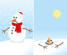 Sad To Happy Snowman Wearing R...