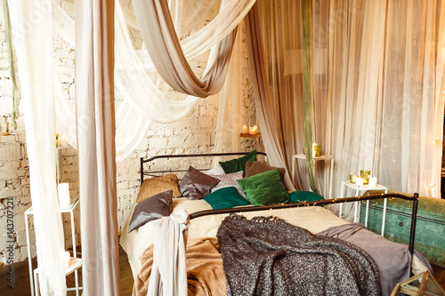 Photo  Boho interior bedroom with curtains