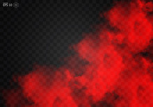 Fog Or Smoke Red Isolated Transparent Special Effect. White Vector Cloudiness, Mist Smog Background. Illustration