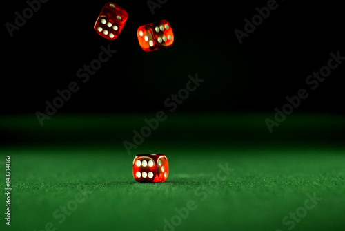 Casino concept dice in montion, poker chips плакат
