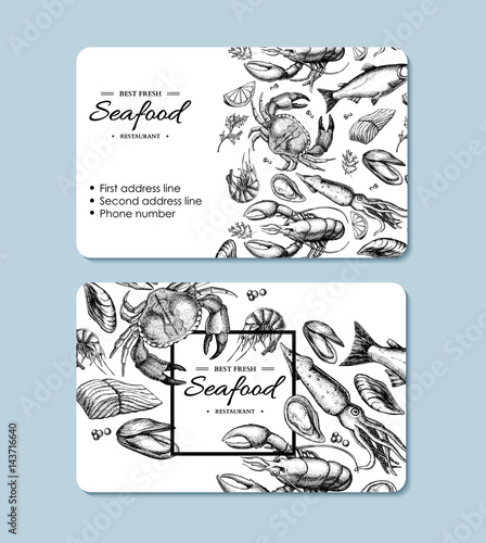 Photo  Seafood hand drawn vector business card