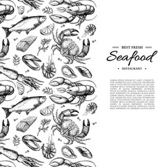 Fototapeta Seafood hand drawn vector framed illustration. Crab, lobster, shrimp, oyster, mussel, caviar and squid.