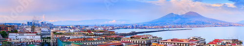 Foto op Plexiglas Napels Panoramic seascape of Naples, view of the port in the Gulf of Naples, Torre del Greco, and Mount Vesuvius. The province of Campania. Italy.