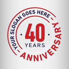 40 Years Anniversary Logo Template.