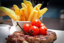 Steak And Chips Meal In The Re...