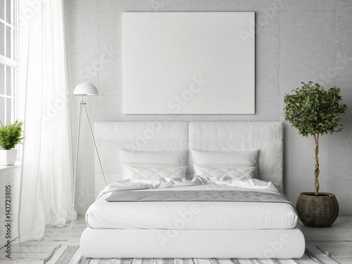 Fotografiet  Mock up poster in white bedroom, 3d illustration