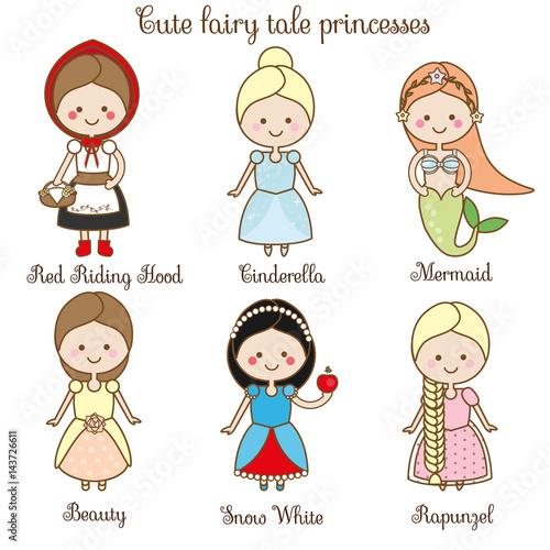 Fotografie, Obraz  Cute kawaii fairy tales characters