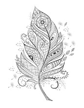 Stylized Feather For Coloring Page.