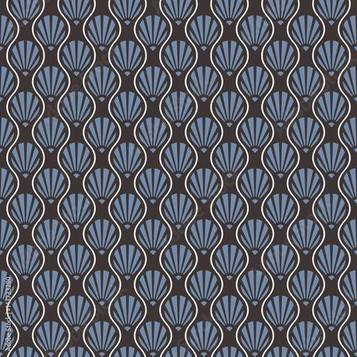 abstrakcjonistyczny-bezszwowy-art-deco-shell-wzor-niebieski-szary-i-bialy-wzor