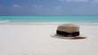 v01907 Maldives beautiful beach background white sandy tropical paradise island with blue sky sea water ocean 4k beige trilby hat