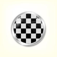 Circle Button With Checkered B...