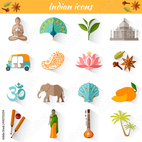 Poster Jeunes enfants Set of vector travel Indian icons. Collection of famous symbols and design elements in India style.