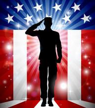 US Soldier Salute Patriotic Background
