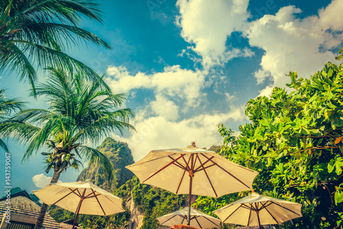Fototapeta Coconut palm trees and limestone rocks at sunny day at blue sky with clouds. Beautifull sea sunset nature background. Travel concept. Photo from Railay Beach, Krabi, Thailand. Vintage filter.