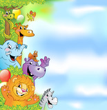 Fototapeta Child room - Cartoon animals, cheerful background